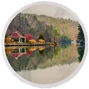 Beautiful Landscape Near Lake Lure North Carolina Round Beach Towel