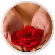 Beautiful Nude Woman Holidng Red Rose Round Beach Towel