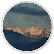 Beautiful Scenic View Of The Mountains In Italy  Round Beach Towel