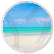 Beautiful Sea Sand And Sky In Pranburi Thailand Round Beach Towel