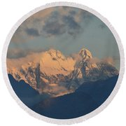 Beautiful View Of The Dolomites Mountains In Italy  Round Beach Towel
