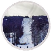 Beautiful Winter Landscape At Timberline West Virginia Round Beach Towel