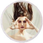 Beautiful Woman With Windswept Hair Round Beach Towel