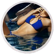 Beautiful Young Woman In Blue Bikini Round Beach Towel