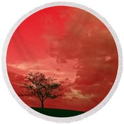 Beauty Stands Against The Terrible Sky Round Beach Towel