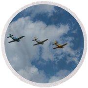 Beechcraft T-34 Mentor Airplane Trio 3 Round Beach Towel