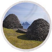 Beehive Stone Huts, Skellig Michael, County Kerry, Ireland Round Beach Towel