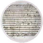 Beethoven Manuscript Round Beach Towel