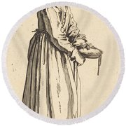 Beggar Woman With Pan Round Beach Towel
