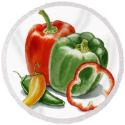 Bell Peppers Jalapeno Round Beach Towel
