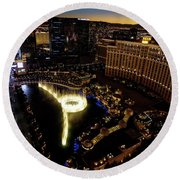 Bellagio Hotel Fountain, Las Vegas Round Beach Towel