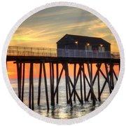 Belmar Fishing Pier Sunrise Round Beach Towel
