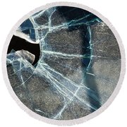 Belmont Cracked Window And Shadow 1599 Round Beach Towel