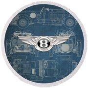 Bentley - 3 D Badge Over 1930 Bentley 4.5 Liter Blower Vintage Blueprint Round Beach Towel