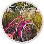 Bicycle At The Beach II Round Beach Towel