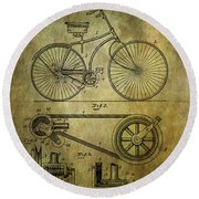 Bicycle Patent From 1890 Round Beach Towel