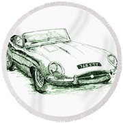 E Type Round Beach Towel