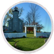 Big Sodus Lighthouse Round Beach Towel