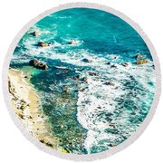 Big Sur California Coastline On Pacific Ocean Round Beach Towel