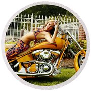 Bikes And Babes Round Beach Towel by Clayton Bruster