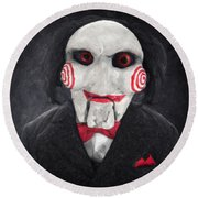 Billy The Puppet Round Beach Towel