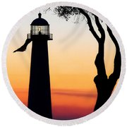 Biloxi Lighthouse At Dusk Round Beach Towel
