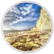 Birling Gap And Seven Sisters Art Round Beach Towel