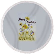 Birthday Card Round Beach Towel