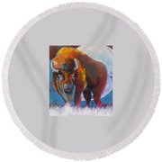 Bison Moon Round Beach Towel