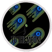 Bitcoin To The Moon Astronaut Cryptocurrency Humor Funny Space Crypto Round Beach Towel