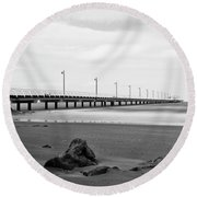 Black And White Image Of Shorncliffe Pier Round Beach Towel