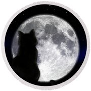 Black Cat And Full Moon Round Beach Towel