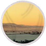 Black Mountains And Vale Of Usk Round Beach Towel