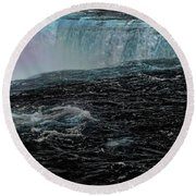Black Niagara Round Beach Towel by Richard Ricci