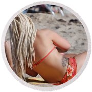 Blondie Braids Round Beach Towel