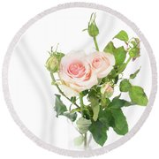 Rose Twigs Round Beach Towel