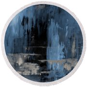 Blue Abstract 12m2 Round Beach Towel