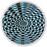 Blue And Black Abstract Round Beach Towel