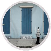 Blue And Silver At 1243 Round Beach Towel