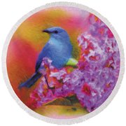 Blue Bird In The Lilac's Round Beach Towel