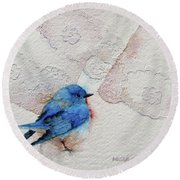 Blue Bird Round Beach Towel