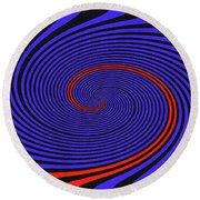 Blue Black And Red Twirl Abstract Round Beach Towel
