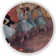 Blue Dancers Round Beach Towel by Edgar Degas