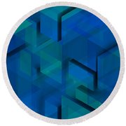 Blue Geometric Composition 1 Round Beach Towel