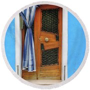 Blue In Burano Round Beach Towel