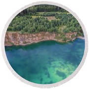Blue Laggon See From Above In Old Sand Mine In Poland. Round Beach Towel