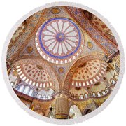 Blue Mosque Interior Round Beach Towel