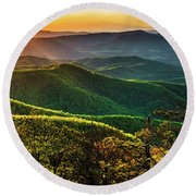 Blue Ridge Sunset Round Beach Towel