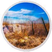 Blue Sky Over The Dunes Round Beach Towel
