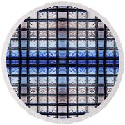 Blue Toned Glass Brick Window Abstract  Round Beach Towel